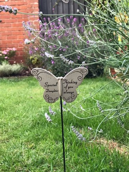 Stone Effect Memorial Butterfly Grave Marker ~ Special Daughter